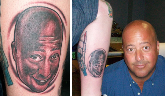 face tattoos. face tattooed on his leg,