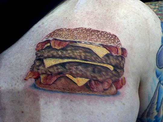 Tags: Bacon, hamburgers, tattoos