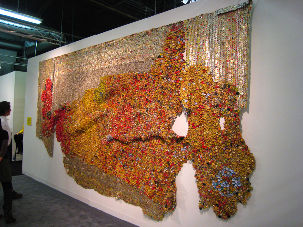 at the armory show installations by el anatsui  food art kitchen power strips under cabinet kitchen lighting strips